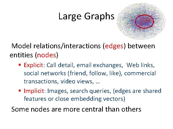Large Graphs Model relations/interactions (edges) between entities (nodes) § Explicit: Call detail, email exchanges,
