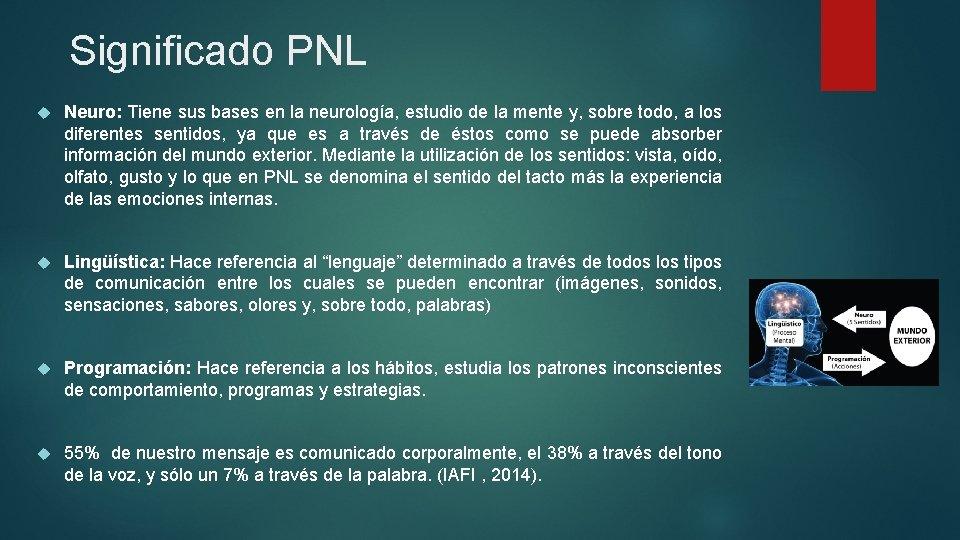 Significado PNL Neuro: Tiene sus bases en la neurología, estudio de la mente y,