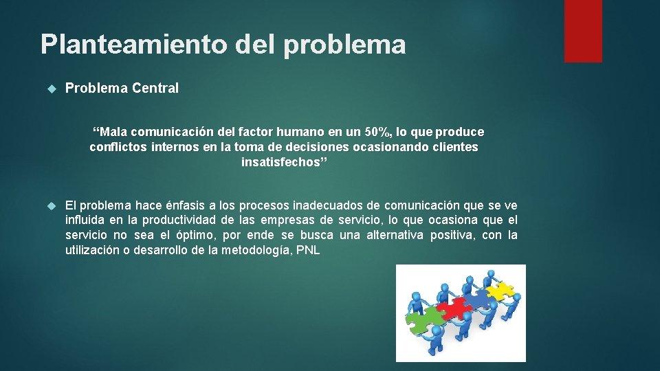 """Planteamiento del problema Problema Central """"Mala comunicación del factor humano en un 50%, lo"""