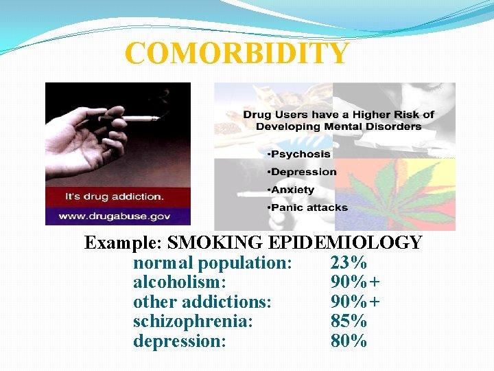 COMORBIDITY Example: SMOKING EPIDEMIOLOGY normal population: 23% alcoholism: 90%+ other addictions: 90%+ schizophrenia: 85%
