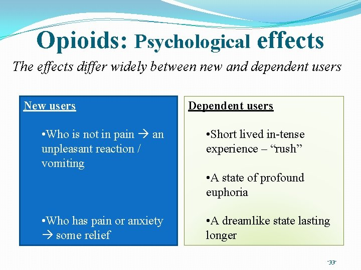 Opioids: Psychological effects The effects differ widely between new and dependent users New users