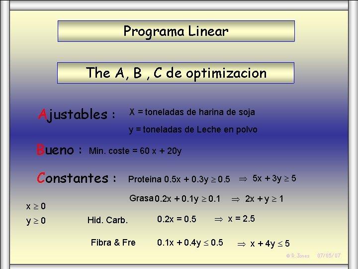 Programa Linear The A, B , C de optimizacion Ajustables : X = toneladas