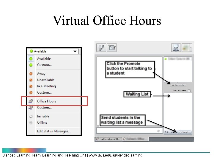 Virtual Office Hours Blended Learning Team, Learning and Teaching Unit | www. uws. edu.
