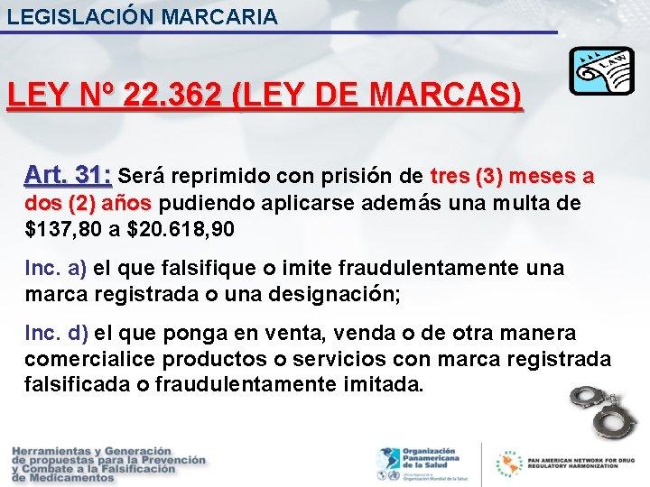 LEGISLACIÓN MARCARIA LEY Nº 22. 362 (LEY DE MARCAS) Art. 31: Será reprimido con