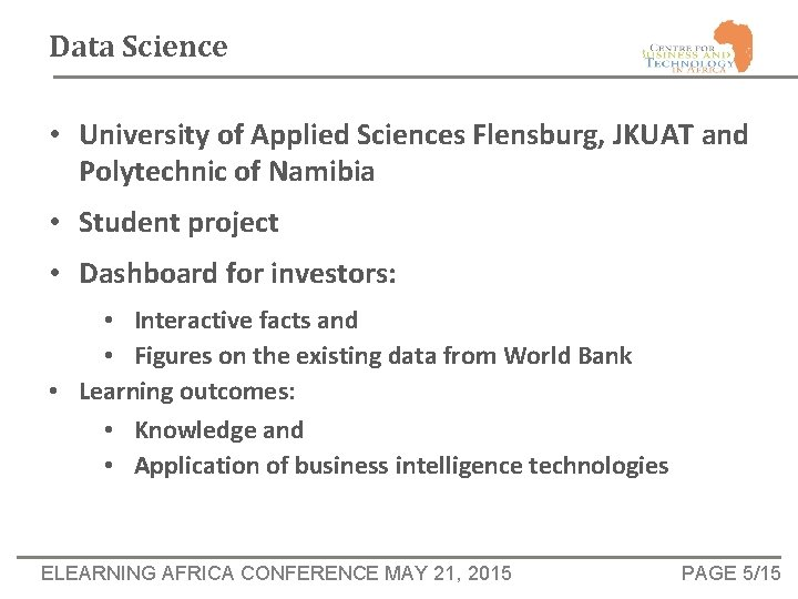 Data Science • University of Applied Sciences Flensburg, JKUAT and Polytechnic of Namibia •