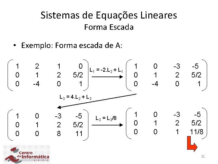 Sistemas de Equações Lineares Forma Escada • Exemplo: Forma escada de A: 1 0