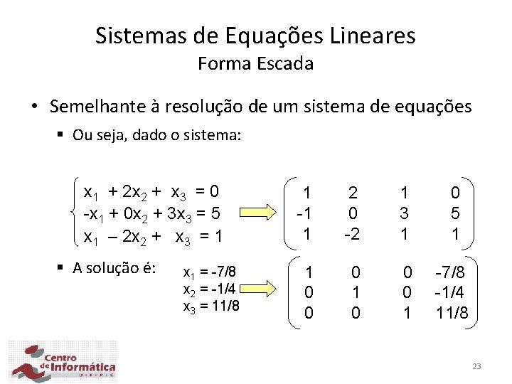 Sistemas de Equações Lineares Forma Escada • Semelhante à resolução de um sistema de