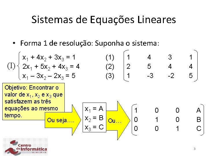 Sistemas de Equações Lineares • Forma 1 de resolução: Suponha o sistema: (I) x