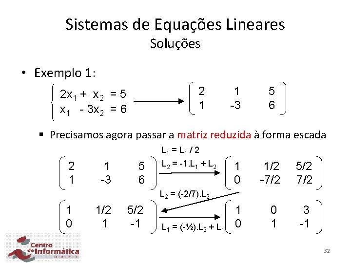 Sistemas de Equações Lineares Soluções • Exemplo 1: 2 1 2 x 1 +