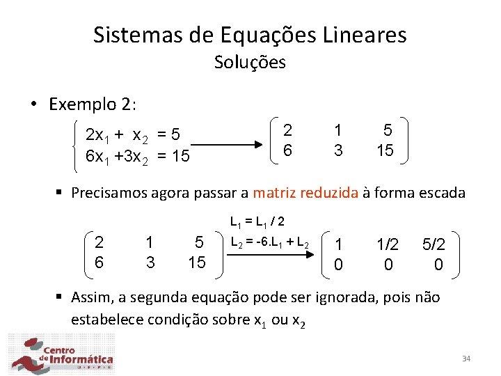 Sistemas de Equações Lineares Soluções • Exemplo 2: 2 x 1 + x 2