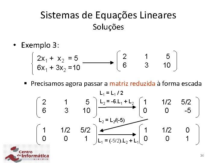 Sistemas de Equações Lineares Soluções • Exemplo 3: 2 6 2 x 1 +