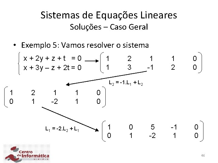 Sistemas de Equações Lineares Soluções – Caso Geral • Exemplo 5: Vamos resolver o