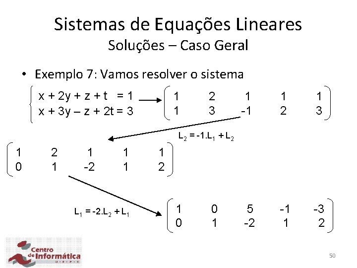 Sistemas de Equações Lineares Soluções – Caso Geral • Exemplo 7: Vamos resolver o