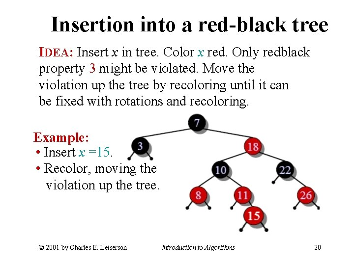 Insertion into a red-black tree IDEA: Insert x in tree. Color x red. Only
