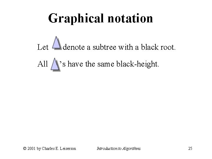 Graphical notation Let denote a subtree with a black root. All s have the
