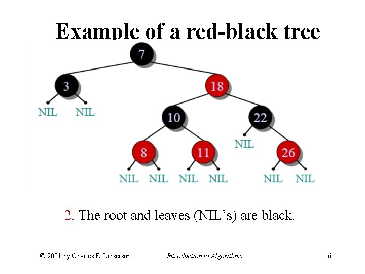 Example of a red-black tree 2. The root and leaves (NIL's) are black. ©