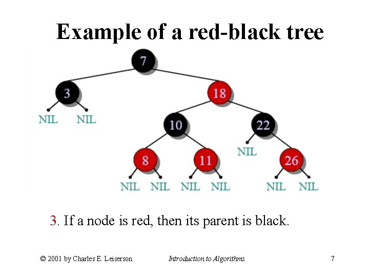 Example of a red-black tree 3. If a node is red, then its parent