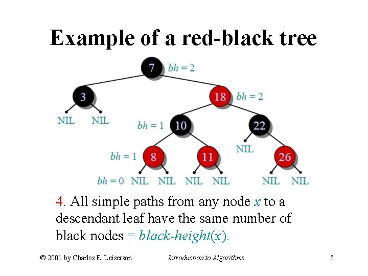 Example of a red-black tree 4. All simple paths from any node x to