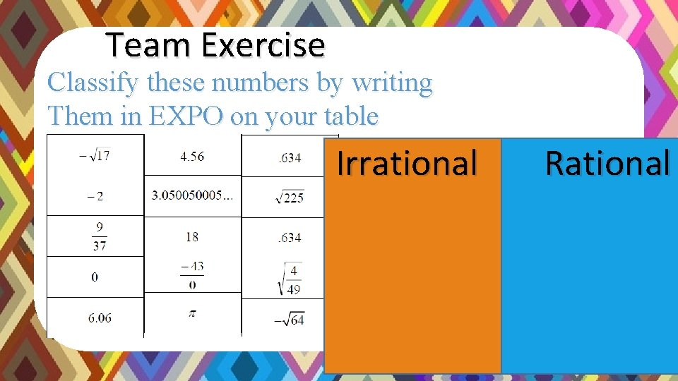 Team Exercise Classify these numbers by writing Them in EXPO on your table Rational