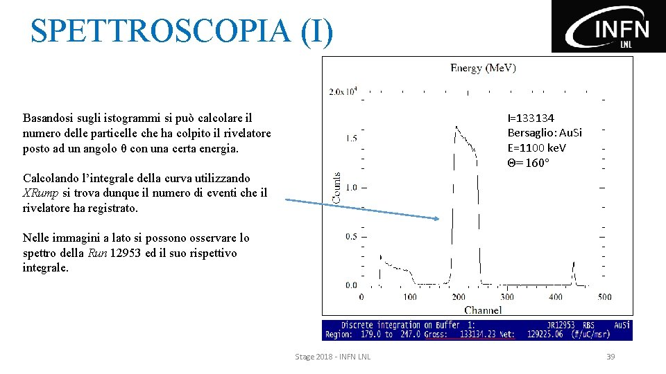 SPETTROSCOPIA (I) I=133134 Bersaglio: Au. Si E=1100 ke. V Θ= 160° Basandosi sugli istogrammi