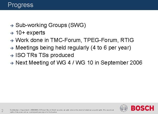 Progress Sub-working Groups (SWG) è 10+ experts è Work done in TMC-Forum, TPEG-Forum, RTIG