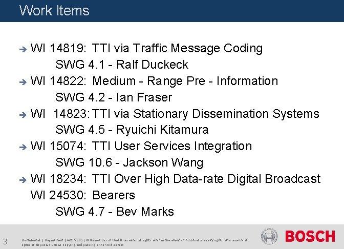 Work Items WI 14819: TTI via Traffic Message Coding SWG 4. 1 - Ralf