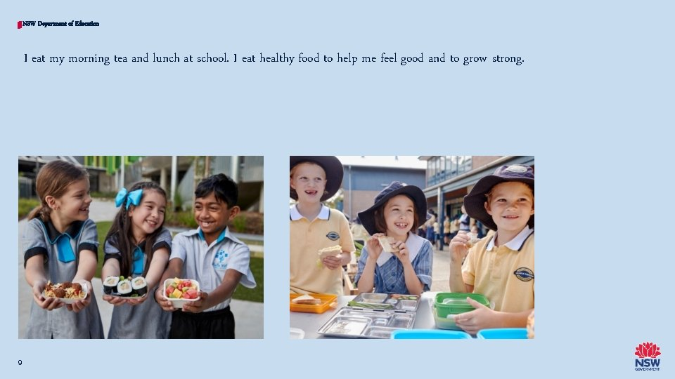 NSW Department of Education I eat my morning tea and lunch at school. I