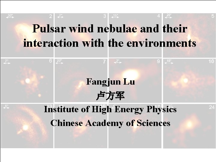Pulsar wind nebulae and their interaction with the environments Fangjun Lu 卢方军 Institute of