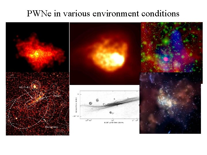 PWNe in various environment conditions