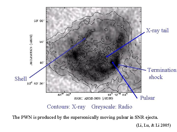 X-ray tail Termination shock Shell Pulsar Contours: X-ray Greyscale: Radio The PWN is produced