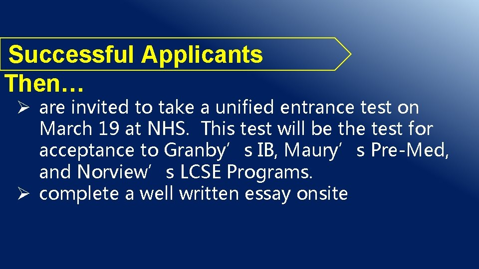 Successful Applicants Then… Ø are invited to take a unified entrance test on March