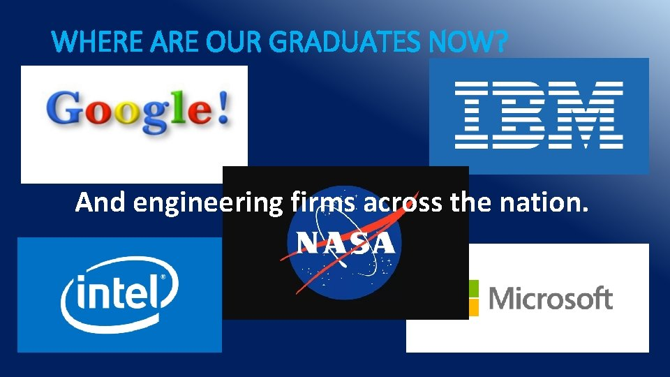 WHERE ARE OUR GRADUATES NOW? And engineering firms across the nation.