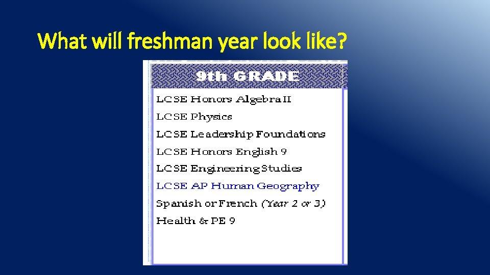 What will freshman year look like?
