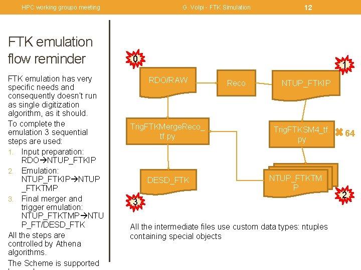 HPC working groupo meeting FTK emulation flow reminder FTK emulation has very specific needs