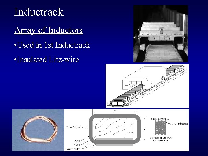 Inductrack Array of Inductors • Used in 1 st Inductrack • Insulated Litz-wire