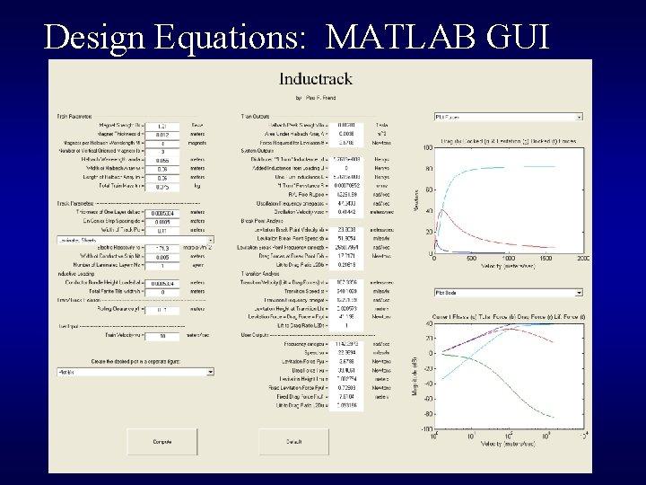 Design Equations: MATLAB GUI