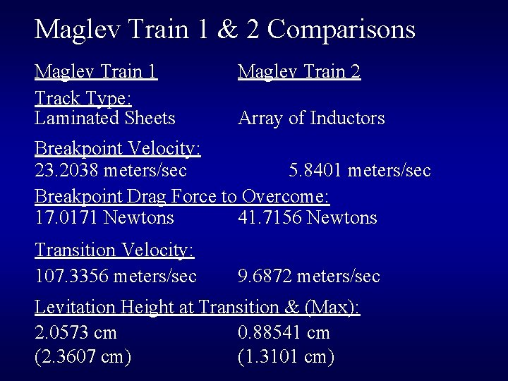 Maglev Train 1 & 2 Comparisons Maglev Train 1 Track Type: Laminated Sheets Maglev