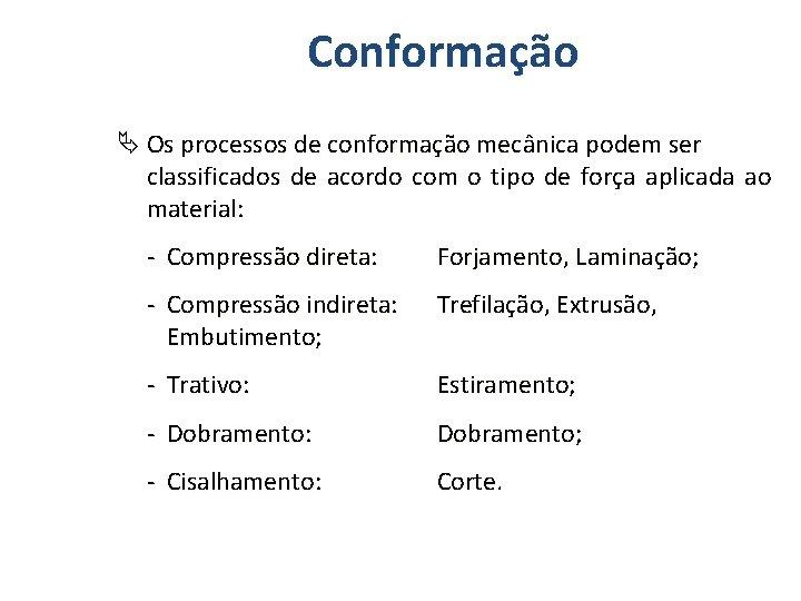 Conformação Os processos de conformação mecânica podem ser classificados de acordo com o tipo