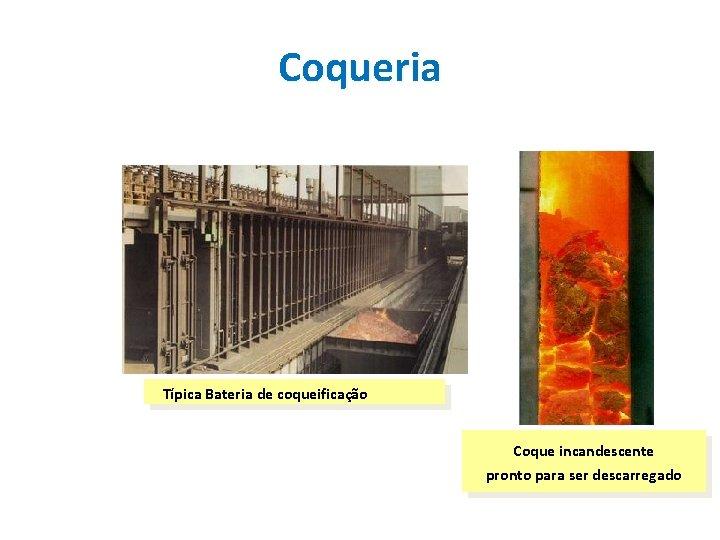 Coqueria Típica Bateria de coqueificação Coque incandescente pronto para ser descarregado
