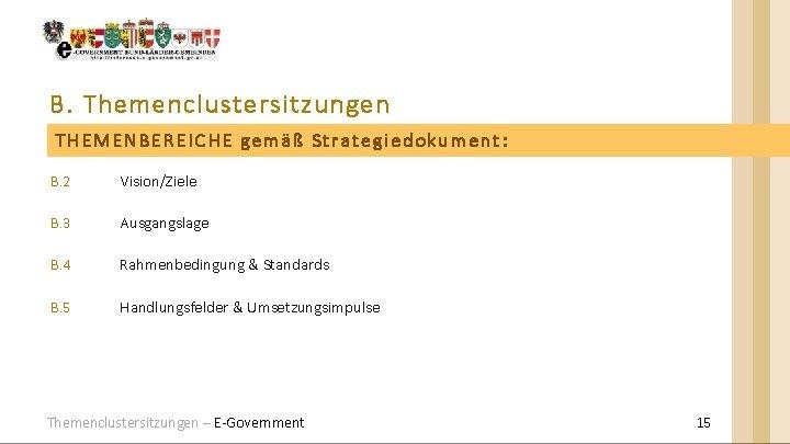 B. Themenclustersitzungen THEMENBEREICHE gemäß Strategiedokument: B. 2 Vision/Ziele B. 3 Ausgangslage B. 4 Rahmenbedingung