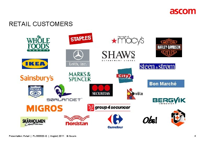 RETAIL CUSTOMERS Bon Marché Obs! Presentation: Retail | PL-000020 -r 2 | August, 2011