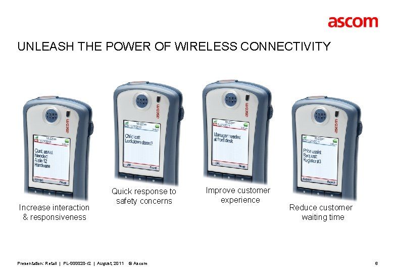 UNLEASH THE POWER OF WIRELESS CONNECTIVITY Increase interaction & responsiveness Quick response to safety