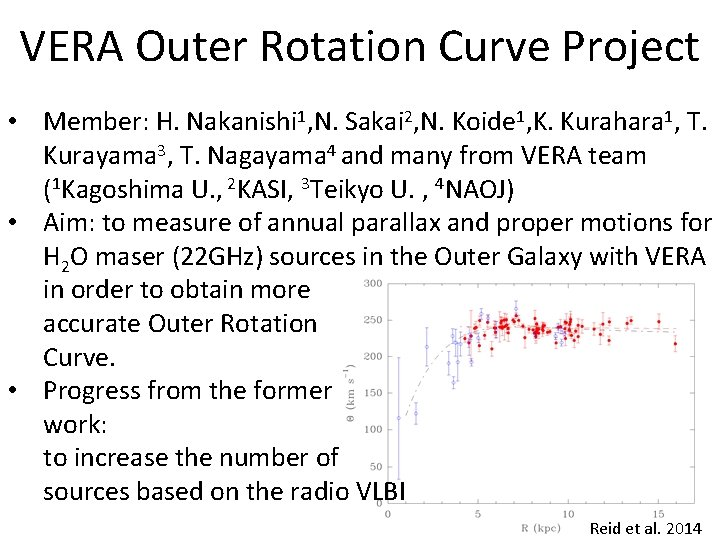 VERA Outer Rotation Curve Project • Member: H. Nakanishi 1, N. Sakai 2, N.