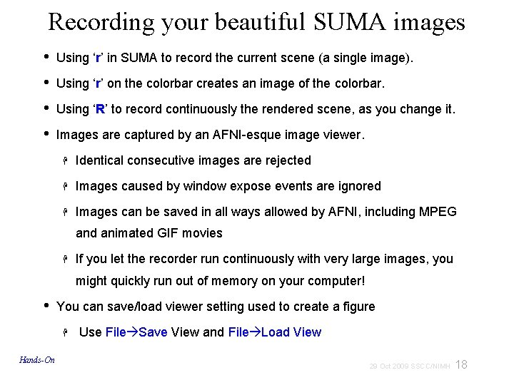 Recording your beautiful SUMA images • Using 'r' in SUMA to record the current