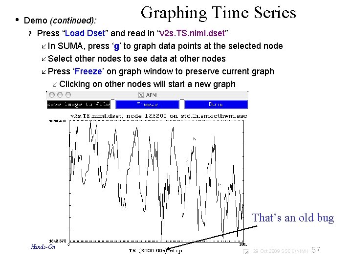 """• Graphing Time Series Demo (continued): Press """"Load Dset"""" and read in """"v"""