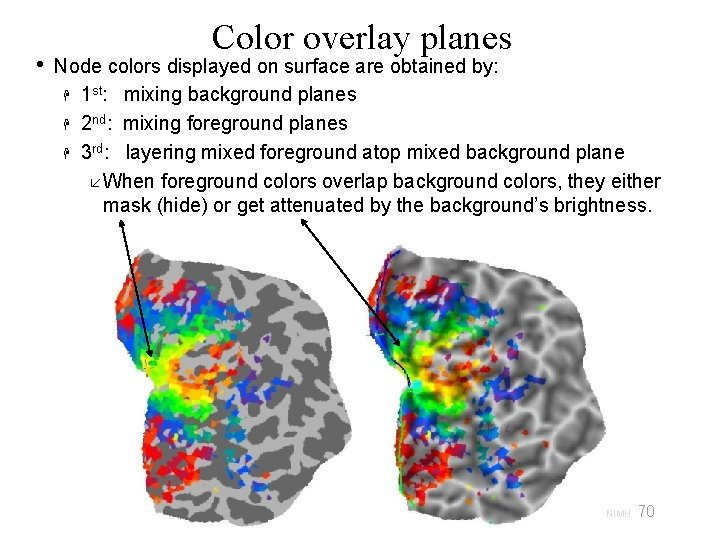 • Color overlay planes Node colors displayed on surface are obtained by: 1