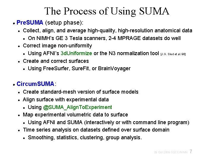 The Process of Using SUMA Pre. SUMA (setup phase): Collect, align, and average high-quality,
