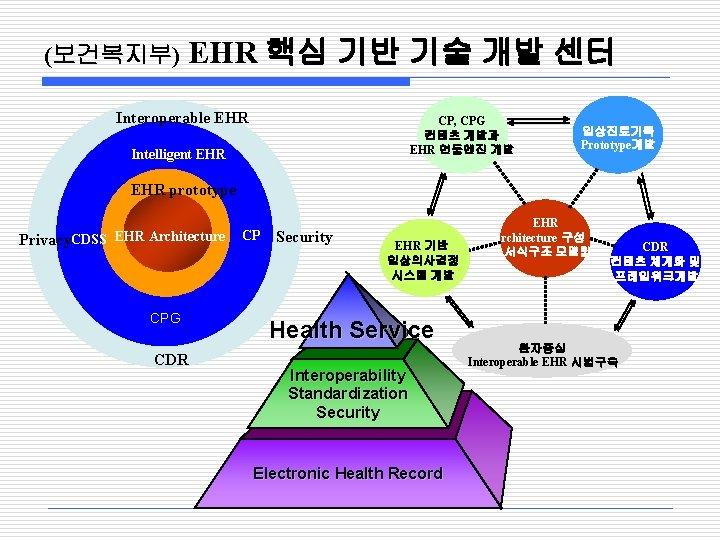 (보건복지부) EHR 핵심 기반 기술 개발 센터 Interoperable EHR CP, CPG 컨텐츠 개발과 EHR