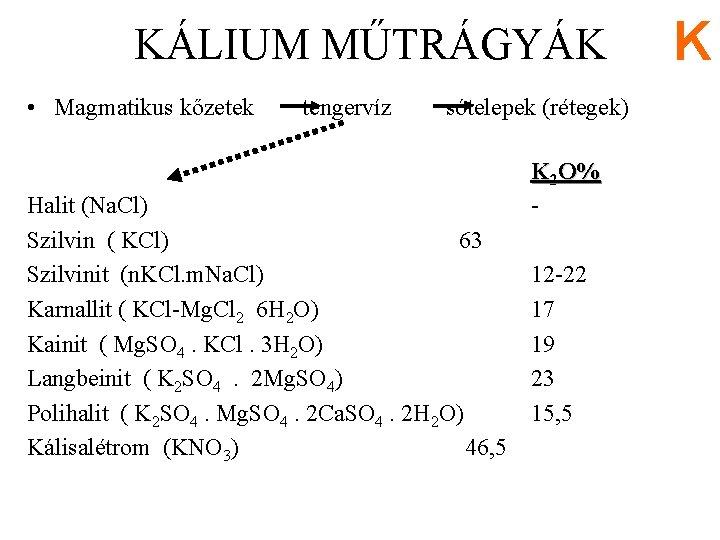 KÁLIUM MŰTRÁGYÁK • Magmatikus kőzetek tengervíz sótelepek (rétegek) Halit (Na. Cl) Szilvin ( KCl)