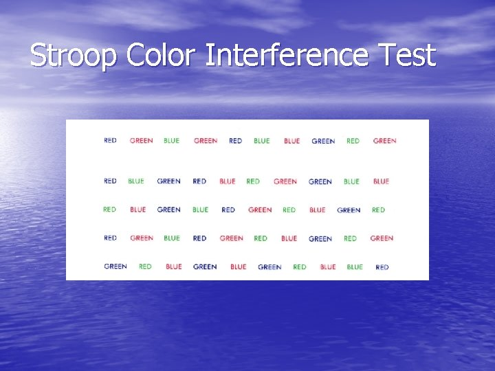 Stroop Color Interference Test